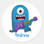 Cute Blue Monster Guitarist Sticker