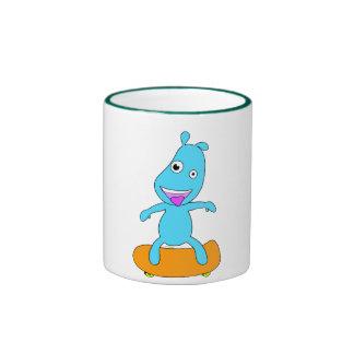 cute blue monster ringer mug