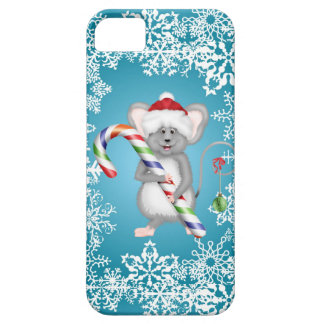 Cute Blue Mouse Holding Candy Cane Christmas iPhone 5 Cover