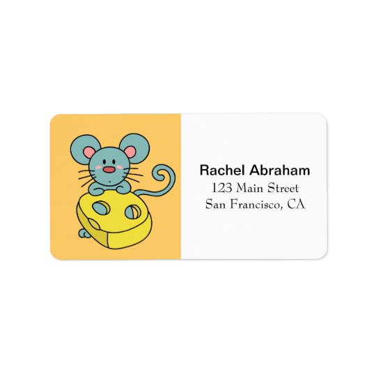 Cute Blue Mouse with Yellow Cheese Address Label