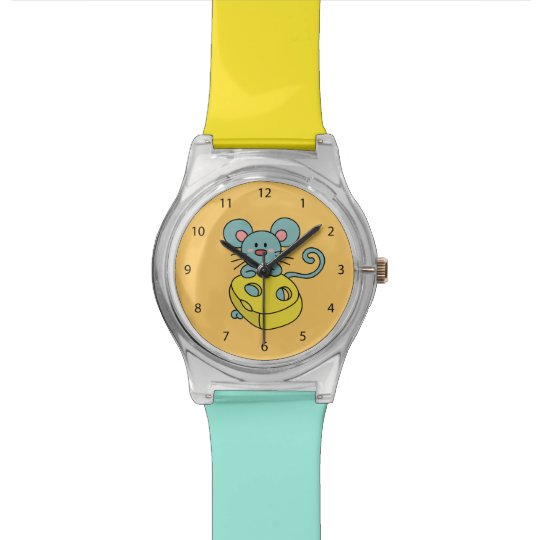 Cute Blue Mouse with Yellow Cheese Watch