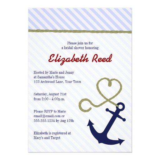 Cute Blue Nautical Theme Anchor Bridal Shower Personalized ...