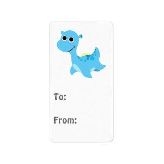 Cute Blue Nessie Address Label
