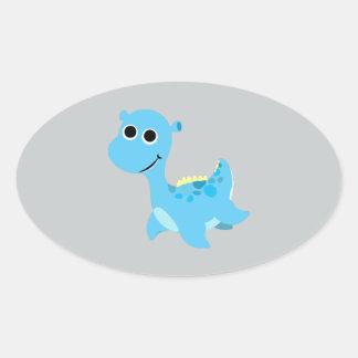 Cute Blue Nessie Oval Sticker
