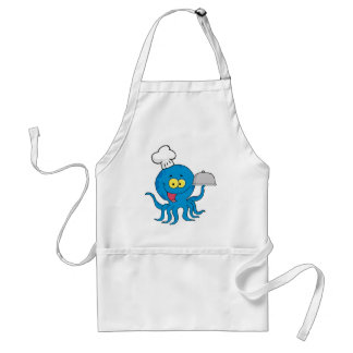 cute blue octopus chef with serving platter adult apron
