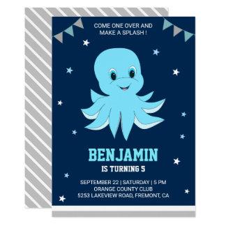 Cute Blue Octopus Kids Birthday Party Invitation