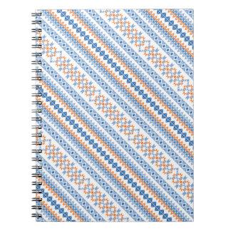 Cute blue orange Aztec Tribal Motif Note Book