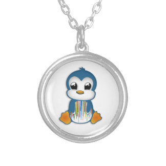 Cute blue orange penguin silver plated necklace
