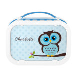 Cute Blue Owl and Polka Dots Personalised