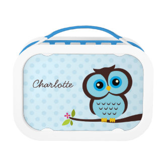 Cute Blue Owl and Polka Dots Personalized Lunch Box