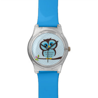 Cute Blue Owl and Polka Dots Watch