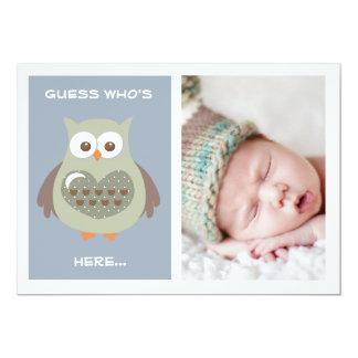 CUTE BLUE OWL BABY ANNOUNCEMENT PHOTO CARD
