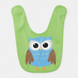Cute Blue Owl Baby Bibs
