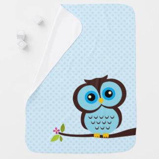 Cute Blue Owl Baby Blanket