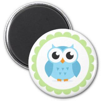 Cute blue owl cartoon inside green border 6 cm round magnet