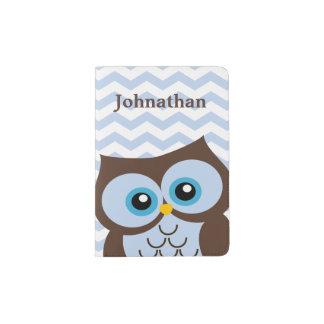 Cute Blue Owl Custom Monogram Passport Holder