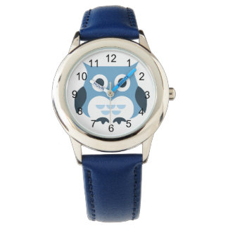 Cute Blue Owl Illustration Watch