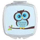 Cute Blue Owl Mirror For Makeup