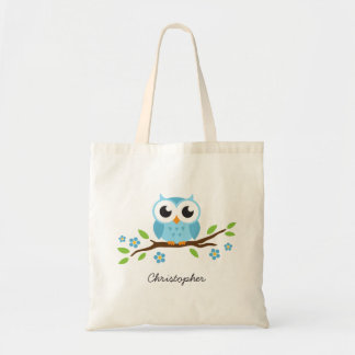 Cute blue owl on floral branch personalized name budget tote bag