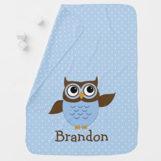 Cute Blue Owl Personalized Baby Blanket
