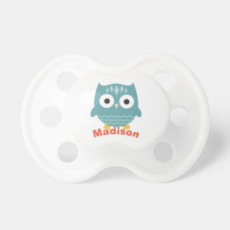 Cute Blue Owl Personalized Baby Pacifier