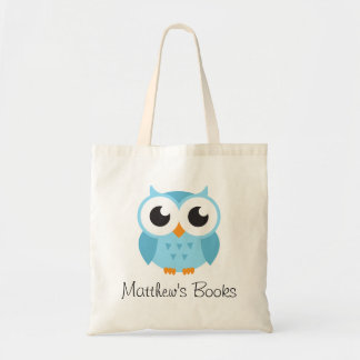 Cute blue owl personalized library book
