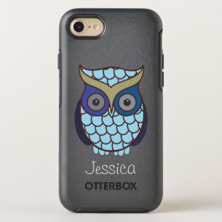 Cute Blue Owl Personalized OtterBox Symmetry iPhone 8/7 Case