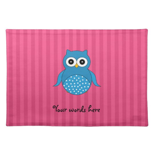 Cute blue owl pink stripes placemats