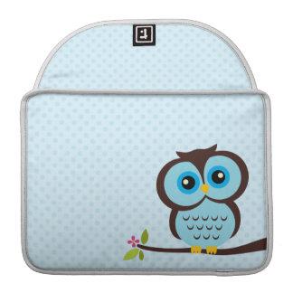 Cute Blue Owl Sleeve For MacBooks