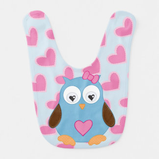 Cute Blue Owl with Pink Hearts Bib