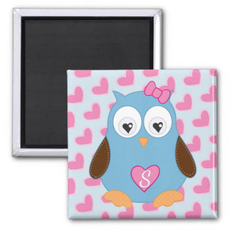 Cute Blue Owl with Pink Hearts Monogrammed Magnet