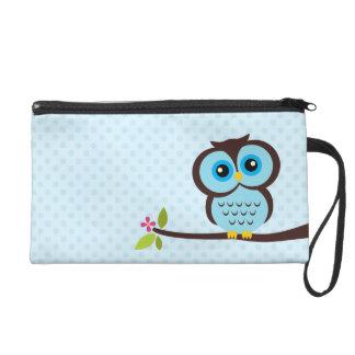 Cute Blue Owl Wristlet