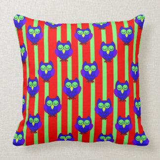 Cute blue  owls seamless  pattern cushion