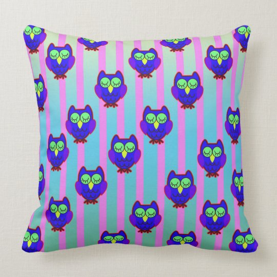 Cute blue owls seamless pattern cushion