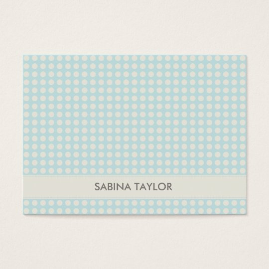 CUTE BLUE PASTEL POLKADOTS AND RIBBON BUSINESS CARD