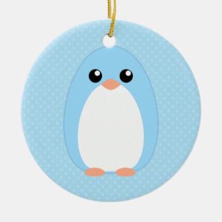 Cute Blue Penguin Christmas Ornament