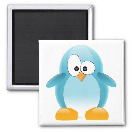Cute Blue Penguin Square Magnet