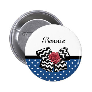 Cute Blue Polka Dots Red Rose Chevron Bow and Name 6 Cm Round Badge