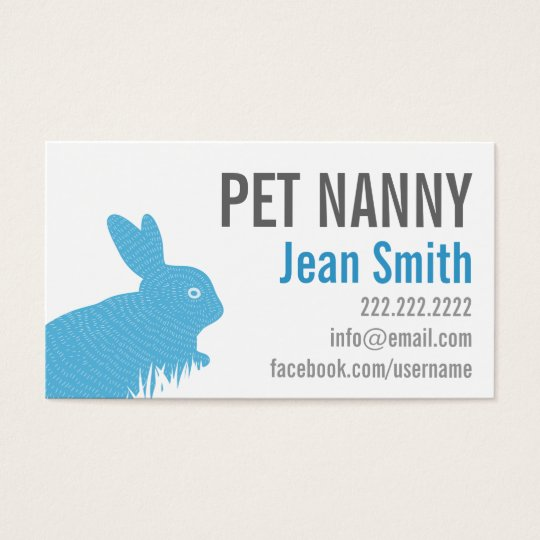Cute Blue Rabbit Pet Nanny Business Card