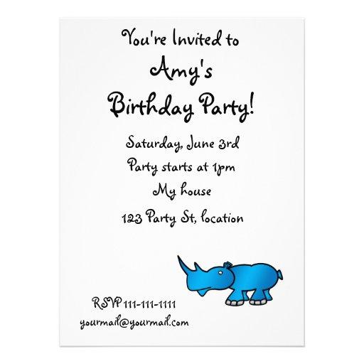 Cute blue rhino personalized invite
