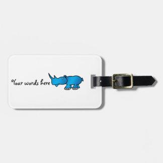 Cute blue rhino luggage tag