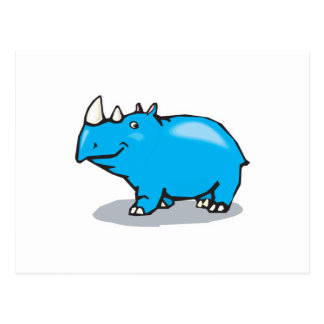 cute blue rhino postcard