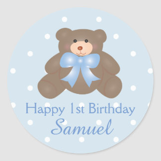 Cute Blue Ribbon Baby Teddy Bear First Birthday Classic Round Sticker