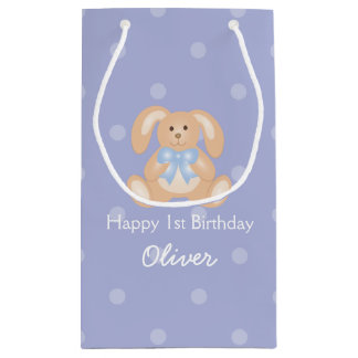 Cute Blue Ribbon Bunny Rabbit First Birthday Party Small Gift Bag