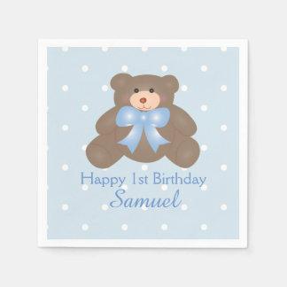 Cute Blue Ribbon Teddy Bear Boy Birthday Party Disposable Napkin
