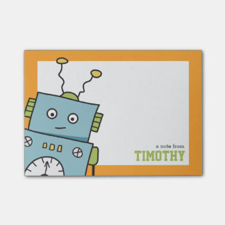 Cute Blue Robot with Personalised Name Post-it® Notes