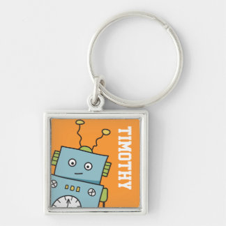 Cute Blue Robot with Personalized Name Silver-Colored Square Key Ring