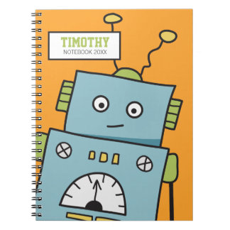 Cute Blue Robot with Personalized Name Spiral Notebook