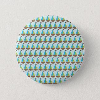 Cute Blue Sailboat Design for Boys 6 Cm Round Badge