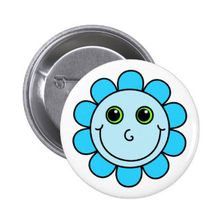 Cute Blue Smiley Face Flower 6 Cm Round Badge